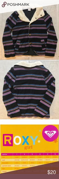 Roxy Girls Striped Multicolor Sweater Sz M (8-10) Roxy Girls Striped Multicolored Sweater Size Medium (8-10)  Snap closures. Dual front pockets. Fleece lining.   20% bundle discount! Smoke- & pet-free home Any questions? Just ask! Roxy Shirts & Tops Sweaters