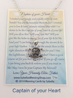 Starts $11.99 USD Captain Wheel Jewelry. The Lord, the Captain of your Heart with blessing poem at https://www.sybellasblessingshop.com/product/captain-wheel-jewelry/