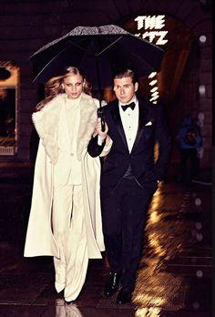 Ce mois-ci dans Harper's Bazaar, l'acteur de Downton Abbey Allen Leech est habillé en Ralph Lauren Purple Label et Anna Selezneva porte la tenue 37 de la Ralph Lauren Collection Automne 2014, inspirée par des lignes architecturales fluides aux couleurs irisées.