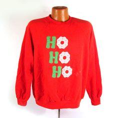 Ugly Christmas Sweater Vintage Sweatshirt Ho Ho Ho Holiday Ugly Tacky by purevintageclothing