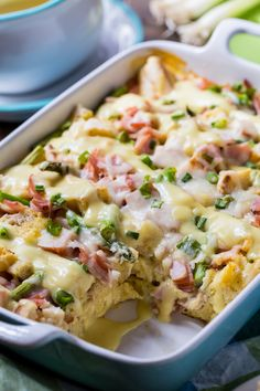 Eggs Benedict Casserole- a savory bread pudding that feeds a crowd and tastes just like Eggs Benedict but is much easier to make.