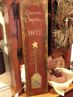 Primitive Christmas sign with tree in crock. Hand painted by Olde Pear Primitives.