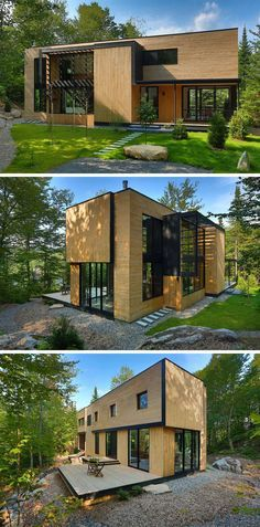 18 Modern Houses In The Forest | Light colored wood covers the exterior of this house surrounded by forest, helping it fit right in among the rest of the wood in the forest.