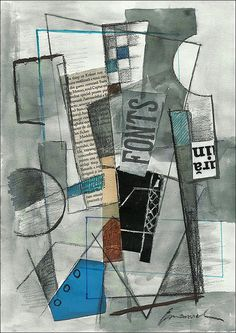 Original cubist collage & drawing mixed media abstract by rcolo