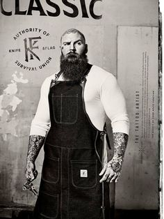 big man with a big beard bearded beards men tattoo tattoos tattooed bald