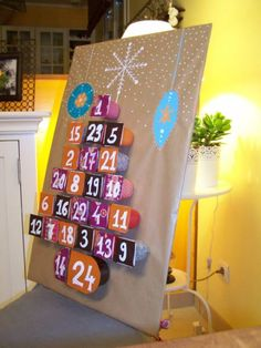 Advent Calendar - an Arts & Crafts Activity shared at S. Mom using recyclables. So adorable! Handmade Christmas Decorations, Christmas Crafts For Kids, Christmas Activities, Craft Activities, Holiday Crafts, Christmas Holidays, Advent Calenders, Diy Advent Calendar, Calendar Ideas
