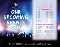 Forever Middle East Upcoming Event 2016 Forever Living Products Middle East Head Office announced the Upcoming Events 2016.