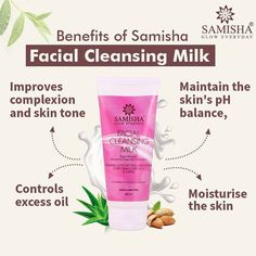 Samisha brings you Facial cleansing milk for natural, healthy & beautiful skin. Its enriched with natural ingredients like✅ aloe vera, ✅green tea,✅ almond oil, and ✅rose that will gently remove dirt, makeup, and impurities while maintaining the skin's natural moisture & ph level. It's an excellent skin cleanser that will soothe skin, cure infections. It suits all skin types. #samishaorganic #samisha #glowyskin #gloweveryday #clearskin #pigmentationremoval #blemishfree #blemishfreeskin #detan Cleansing Milk, Facial Cleansing, Cleanser, Moisturizer, Acne Cream, Glowy Skin, Clear Skin, Natural Skin, Aloe Vera