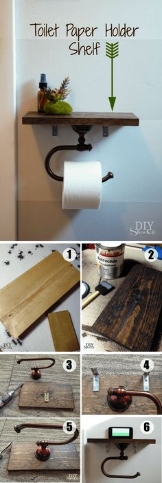 DIY Toilet Paper Holder with Shelf \/\/ Use this clever and functional toilet paper holder to keep small handy bathroom accessories or to create attractive displays.