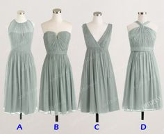sage grey bridesmaid dress chiffon bridemsmaid dress by sofitdress, $90.00
