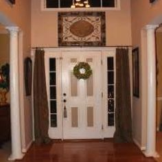 Curtain On Front Door, Love This Idea! Keep Out Draft At Night And Also