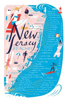 Carte plages de New Jersey, polychrome, 12 « x 18 » Archiv...