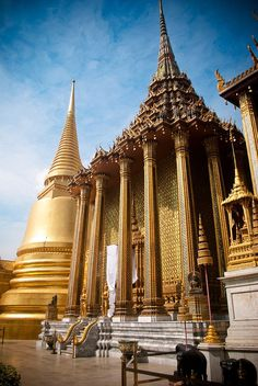 "The Phra Mondop library in the middle of the Wat Phra Kaew (""Temple of the Emerald Buddha"") within the precincts of the Grand Palace in Bangkok, Thailand"