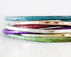 Stacking Bracelets - Moroccan Glow Skinnies - 7 in Red Purple Green Blue Rose Silver Gold Cuffs - Boho Chic - Patina by amywaltz #TrendingEtsy