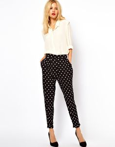 Peg pants in spot print. So cute for dinners out.
