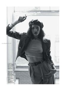 0850f518774e7 French beret and jacket over striped crop top and 40 s slacks