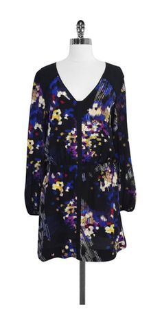 Leifsdottir Black & Multi-Color Print Silk Dress
