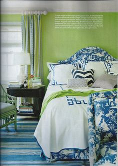 I adore this bedroom in the new House Beautiful. Love green and blue, the chinoiserie print, and gorgeous linens.Great love seat in the same fabric as the headboard.Love that color is coming back in vogue!