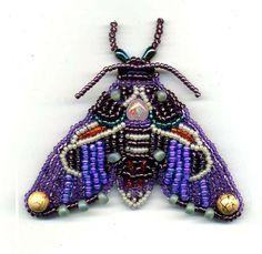 Purple Hawkmoth Bead Embroidered Brooch. €50.00, via Etsy.