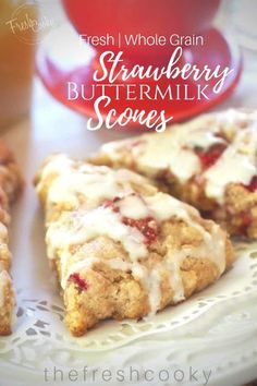 Fresh Strawberry Buttermilk Scones are tender, buttery, bursting with strawberries in every bite! Whole grain, easy; drizzled with a lemon butter glaze. Strawberry Scones, Strawberry Recipes, Tea Recipes, Dessert Recipes, Scone Recipes, Baking Recipes, Baked Rolls, Lemon Butter, Easter Brunch