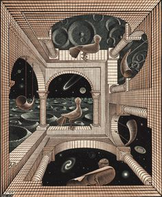 mc escher one point perspective Mc Escher, Escher Kunst, Escher Art, Escher Prints, Art And Illustration, Illusion Kunst, Illusion Art, Op Art, Dutch Artists
