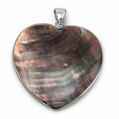 Sterling Silver and Abalone Shell Heart Pendant - Size: 48mm Pendants - Sterling Silver. $35.25