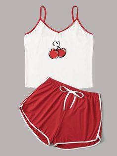 Cherry Print Cami Pajama Set - Source by andjeladjordjevic - Cute Sleepwear, Sleepwear Women, Pajamas Women, Loungewear, Cute Pajama Sets, Cute Pajamas, Comfy Pajamas, Black Pajamas, Cute Lazy Outfits