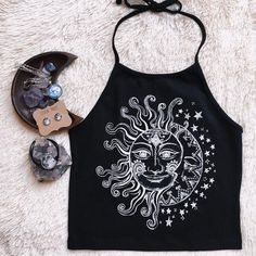 This Sun & Moon Halter Crop Top is a summer essential! This top is so comfortable and has the perfect amount of stretch | Shop boho crop tops at Livin' Freely