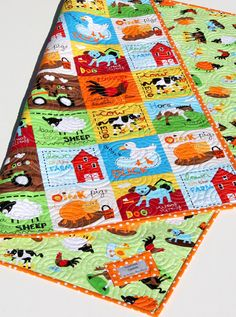 Farm Quilt Bright Unisex Tractor Blanket Cows by SunnysideDesigns2