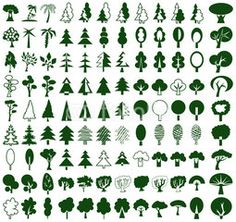 Trees icons on white