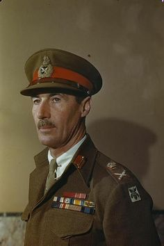 Lieutenant General R M Scobie CB, CBE, MC, General Officer Commanding Allied Land Forces Greece, at his headquarters in Athens. Military Ranks, Military Police, Lieutenant General, British Army, World War Two, Wwii, Greece, Captain Hat, History