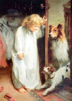 bumble button: Arthur John Elsley paintings English countryside children playing with their dogs and cats.