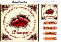 Elegant Hearts And Swirls Valentines Card Front
