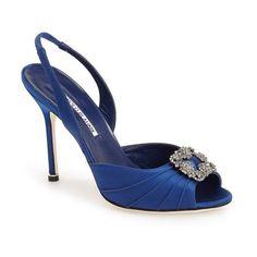 """Manolo Blahnik 'Cassia' Ornamented Slingback Sandal, 4"""" heel ($935) ❤ liked on Polyvore"""