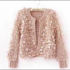 Light pink very warm sequined knit jacket New. Xs/s/m. Available in light pink, black and white Sweaters Cardigans Light pink very warm sequined knit jacket New. Xs/s/m. Available in light pink, black and white Sweaters Cardigans Winter Cardigan Outfit, Cardigan Outfits, Sequin Cardigan, Sweater And Shorts, Crochet Cardigan, Sweater Coats, White Sweaters, Cream Cardigan, Pink Cardigan