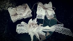 Vintage lace & twine napkin tie /ring great for shabby vintage wedding / home decor