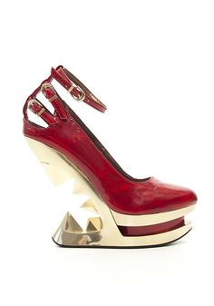 Patent Leather Iceberg Wedge Pump In Black/Metal Or Red/Gold Colorways *** Details can be found by clicking on the image.