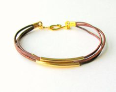 Thin Brown Leather Bracelet with Silver Tubes by MaisJewelry
