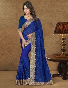 Blue Georgette Embroidery Work Saree 79394