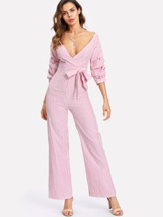 Get this pink gathered Sleeve Surplice Wrap Striped Jumpsuit for the spring or fall season............