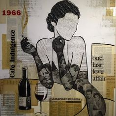 """Cafe Indulgence"". A place where one can indulge in the little pleasures in life without guilt. One of my favorite pieces. #collageart #art #vintage #mixedmedia #losangelesart #filmnoir #cafe #wine #sheetmusic #1966 #indulgence #hollywoodart @floorplanla"