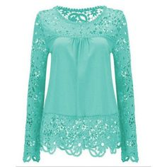 $15.07 Solid Color Lace Spliced Hollow Out Blouse - Light Blue
