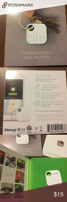 Tile: find your phone, keys, anything. Brand new, never used tile device for locating lost objects. Easily attach, stick or tie to keys, luggage, backpacks and more so that you can find just about anything. Plus, customize your ring with four preset tunes. Box comes with easy to use instructions. See more info on: https://www.thetileapp.com/en-us/store/tiles/mate tile Other