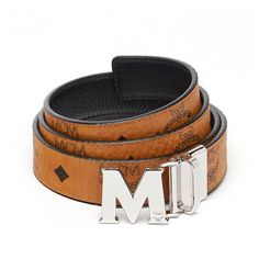 "MCM Color Visetos Reversible Belt 1"""" ($275) ❤ liked on Polyvore featuring accessories, belts, reversible belt, mcm, leather buckle belt, 100 leather belt and buckle belt"