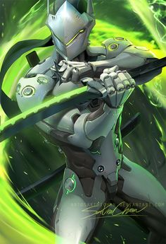 Pixiv llfacebook llOnline Store ll Tumblr ll PatreonllArtstationlInstagram gumroad(tutorial store) Genji from over watch gave me a bit of a challenge XD I have not painted sci-...
