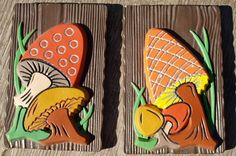 Mushroom Wall Plaques Vintage 1970s Home Decor. $12.00, via Etsy.