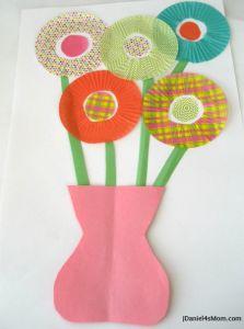 Cupcake liner flowers in a vase.