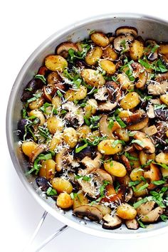 Hypoallergenic Pet Dog Food Items Diet Program This Toasted Gnocchi With Mushrooms, Basil And Parmesan Recipe Only Takes About 30 Minutes To Prepare, It's Nice And Hearty, And Full Of Absolutely Delicious Flavors Gluten-Free Vegetarian Parmesan Recipes, Veggie Recipes, Dinner Recipes, Cooking Recipes, Healthy Recipes, Vegan Parmesan, Parmesan Pasta, Game Recipes, Noodle Recipes