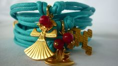 Gorgeous Pre Colombian cotton wraps from MAR Jewelry Studio. Get the Boho Chic look this summer with this stunning  turquoise color and original charms. MAR is all about mixing, matching and stacking!