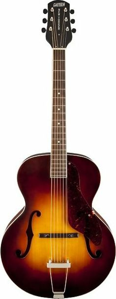 """The classic 1950s Gretsch New Yorker™ archtop guitar returns.  From  casual playing to pro performance, this grand auditorium-size  archtop  will be your new favorite for its excellent tone, effortless  playing  action and handsome good looks.Features include an  arched solid  spruce top, laminated maple sides and arched back,  vintage-style  """"V""""-shaped mahogany neck profile, rosewood fingerboard,  25"""" scale,  compensated rosewood bridge with trapeze tailpiece, nickel  hardware,  and ..."""